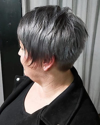 Layered short haircut for older women over 60