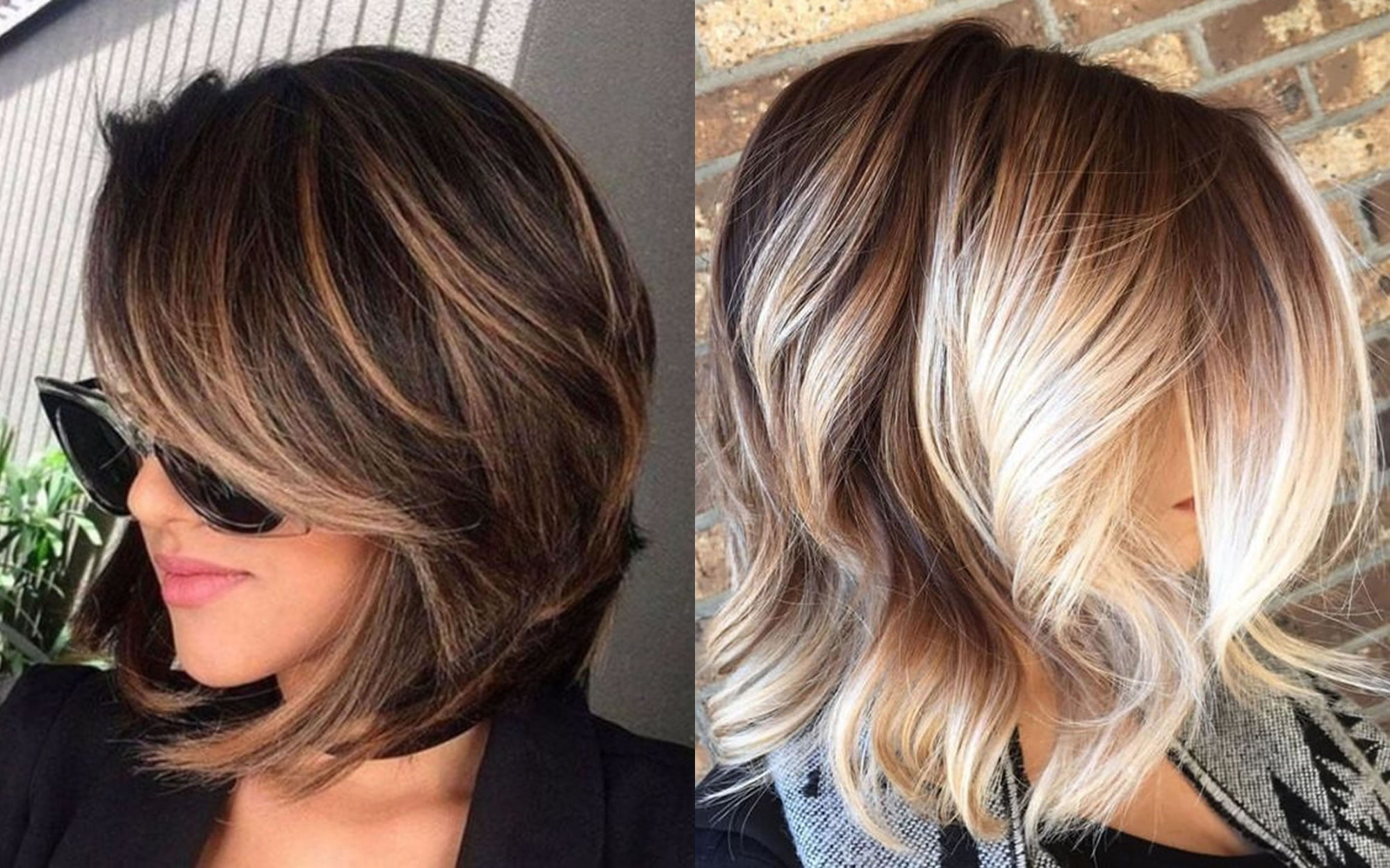 2018 Hairstyle For Dark Hair Color: Balayage Short + Long Bob Highlights