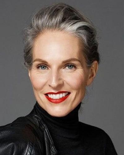 Grey balayage short hairstyle over 60