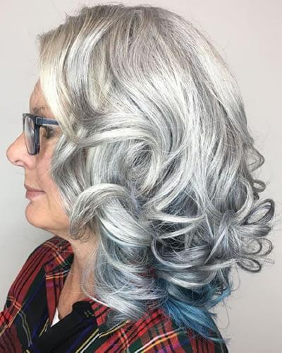 Grey hair color medium length curly hair over 60