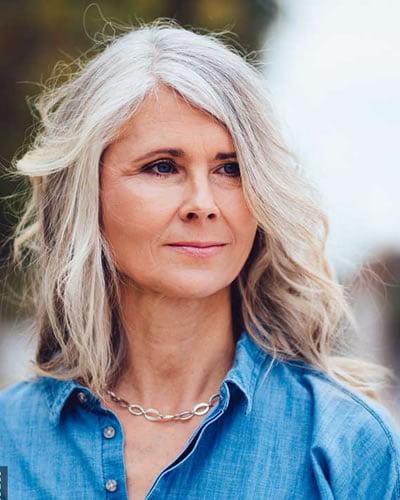 Soulder length hairstyle for older women over 60