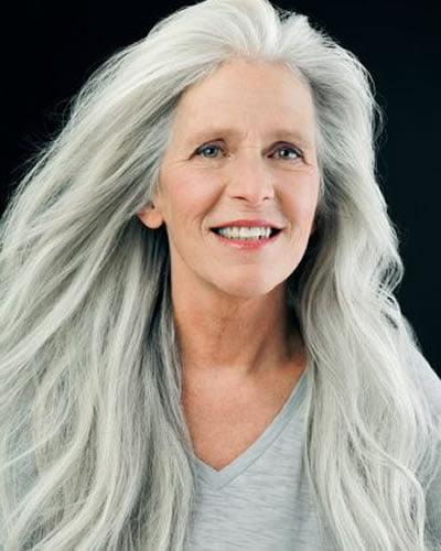 Very long hair style for older women over 60