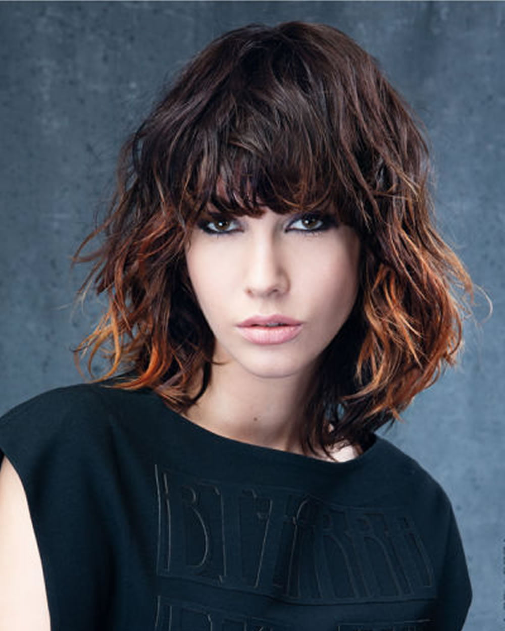 Balayage brown hair bob haircut with bangs - Hair Colors