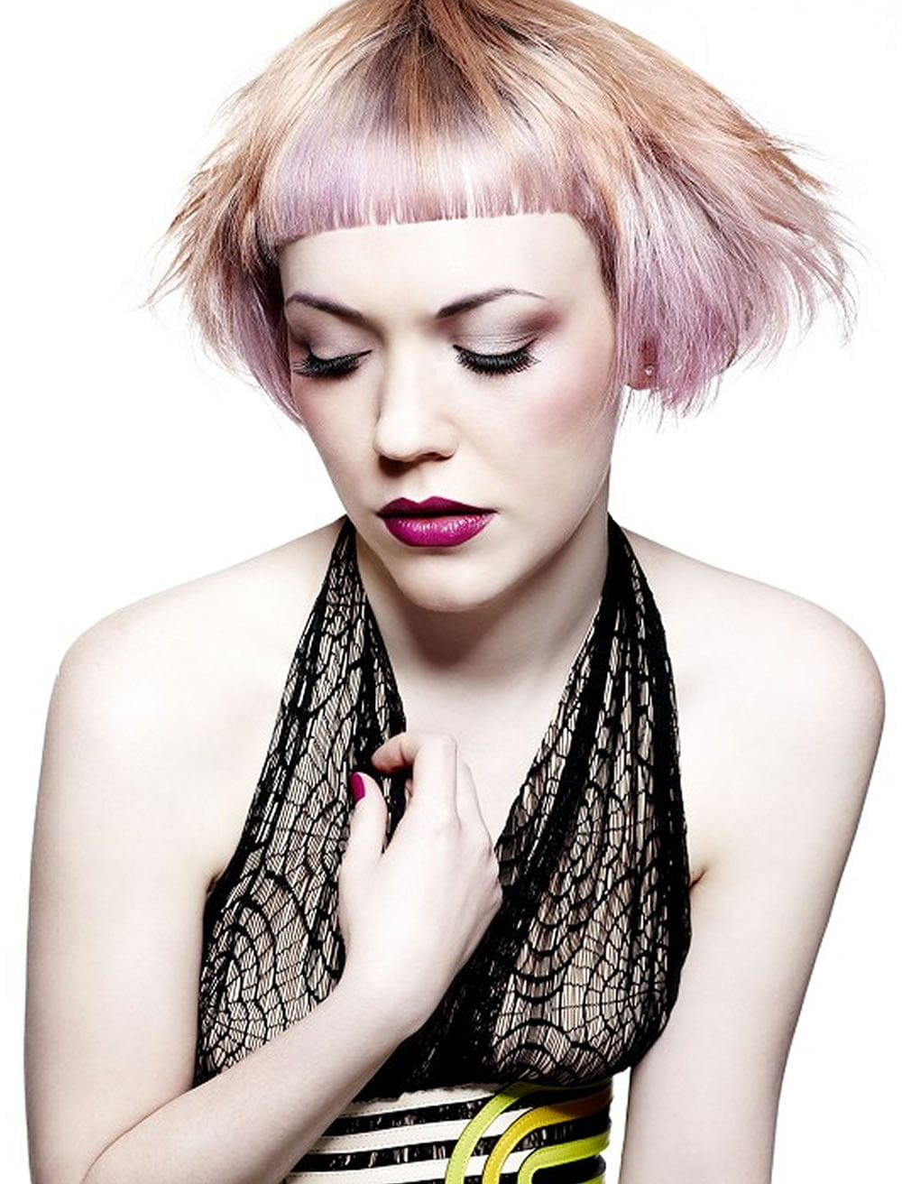 cute pink ombre asymmetrical bob hairstyles with short