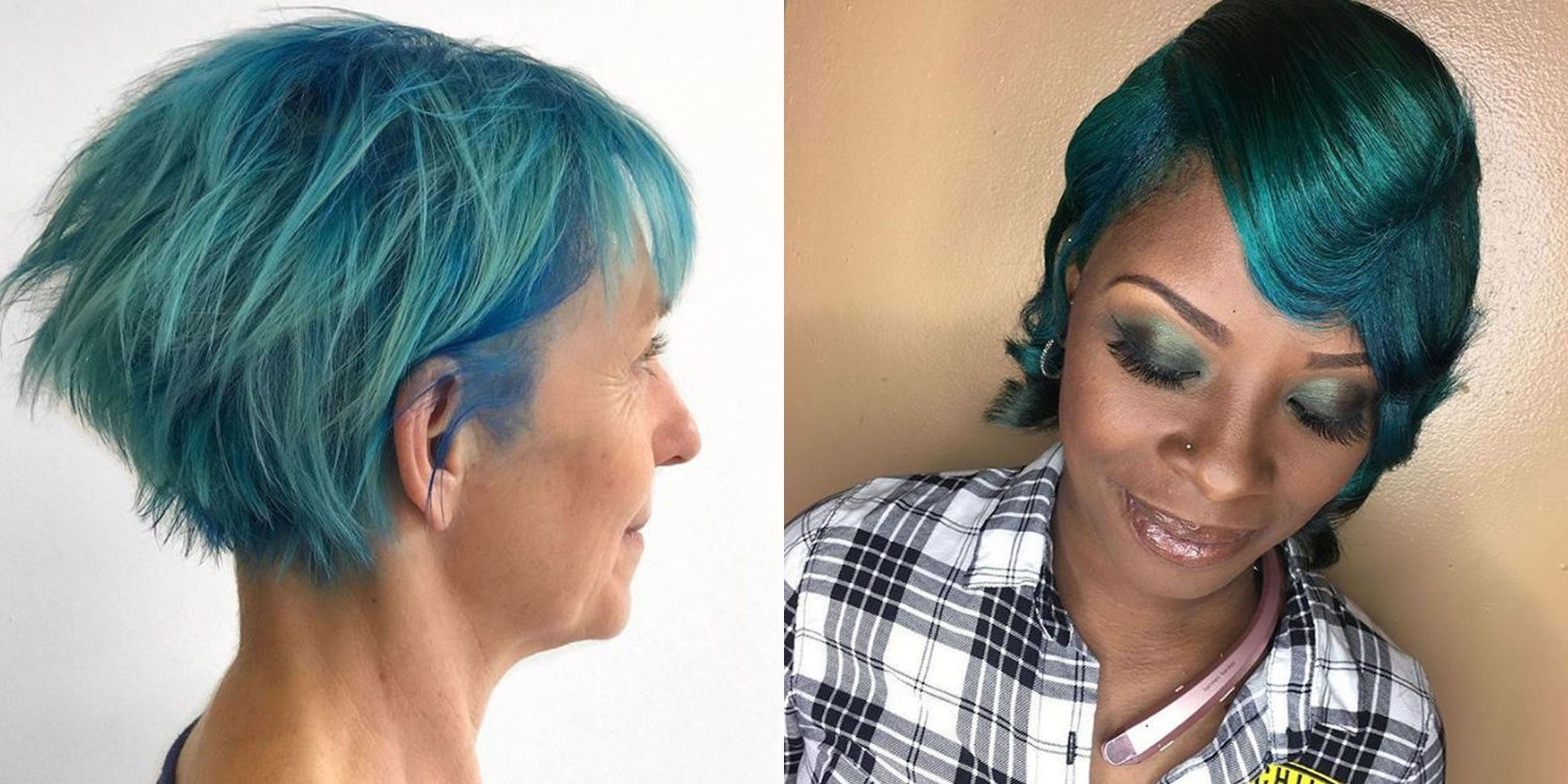 Green Highlights Short Hair Style For Women 2019 Hair Colors