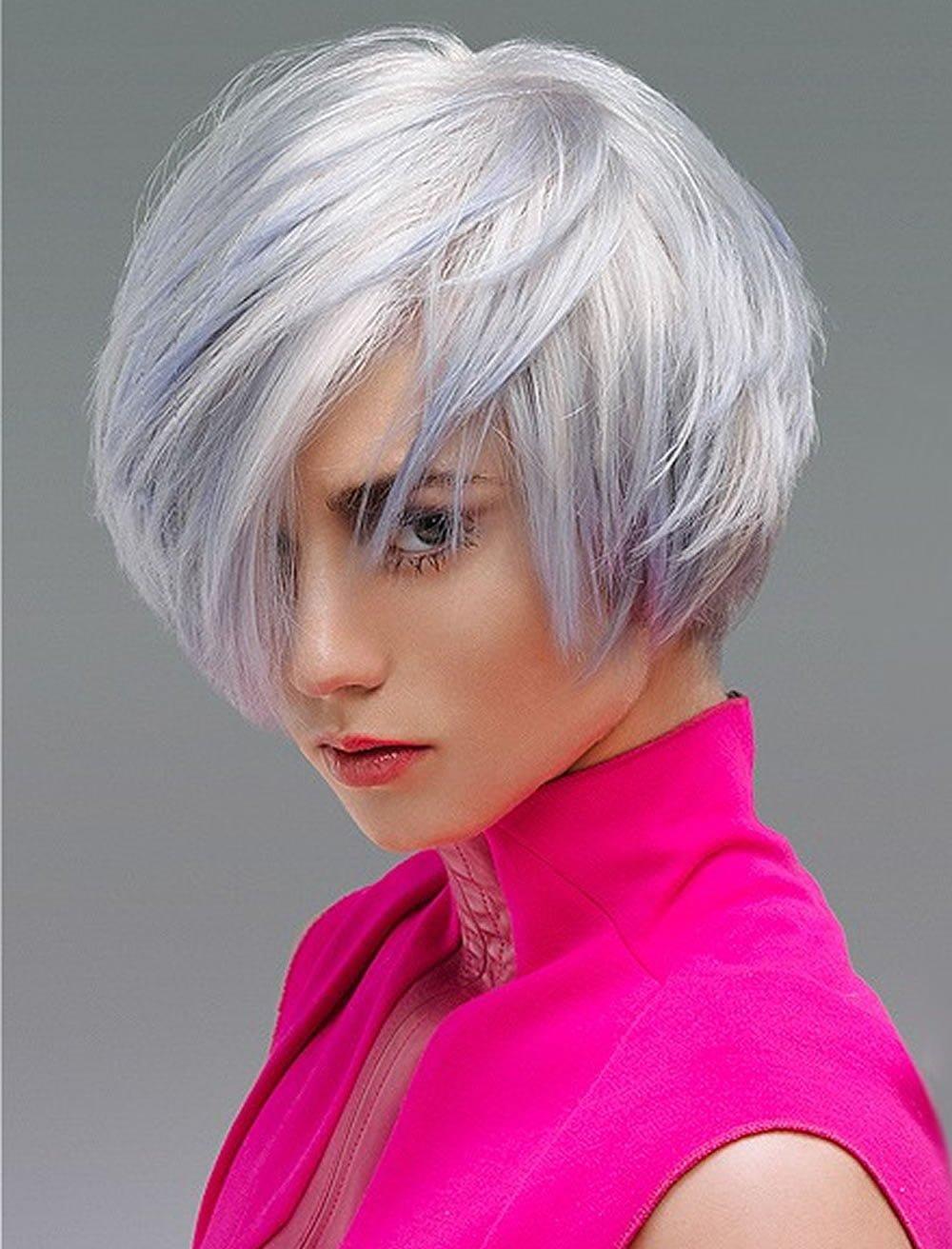 Grey hair color asymmetrical bob hairstyles 2019 - Hair Colors