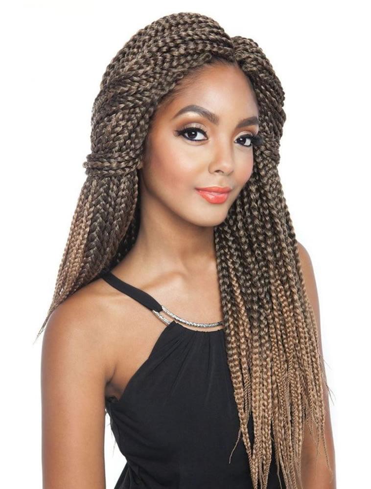 Brown hair color box braids