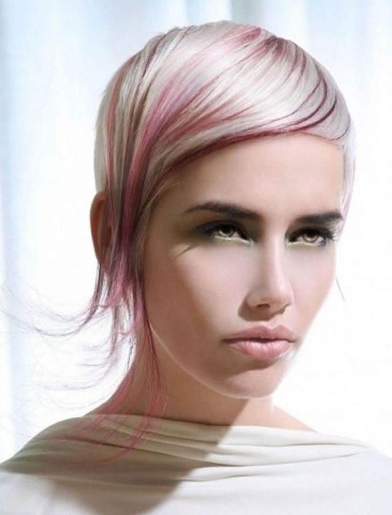 Balayage short haircut asymmetrical pixie style