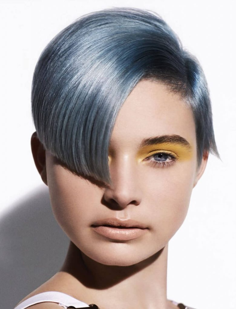 Gray hair color short layered hair style