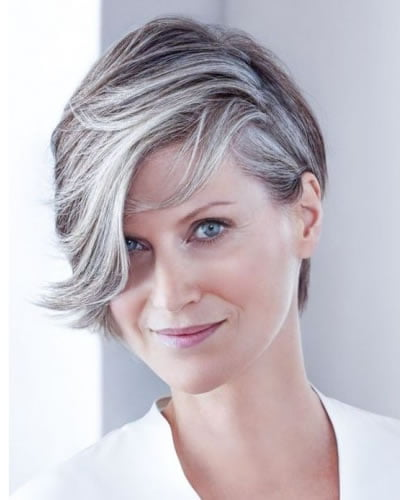 Grey hair color shoert haircut with bangs for women over 50