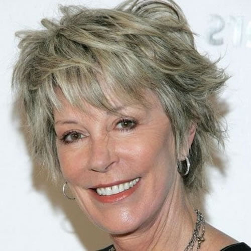 Layered short hair style over 60