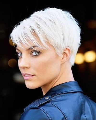 Grey hair color layered short hair 2020