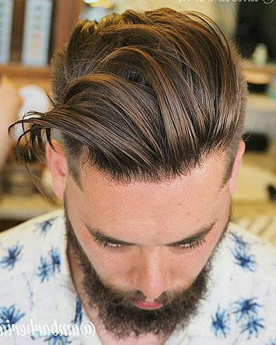 Brushed Back Men's Hairstyle