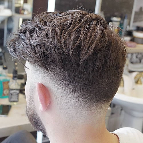 Low Fade + Messy Longer Hair On Top 2020