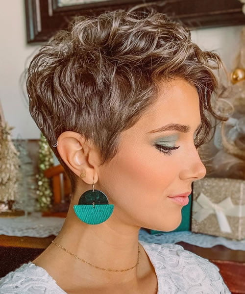 Ombre Curly Pixie Cuts with Bangs 2020 - 2021
