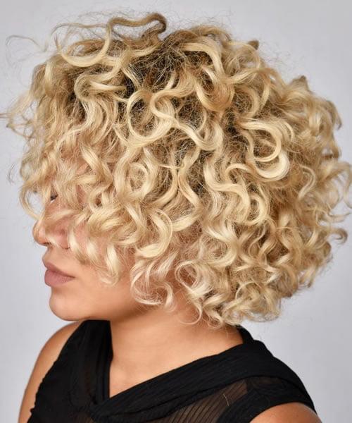 Short Curly Blonde Hair for Darker Skin